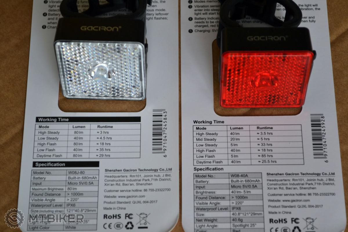 Jednotlivé režimy blikaček a výdrž akumulátoru jsou uvedeny na balení.
