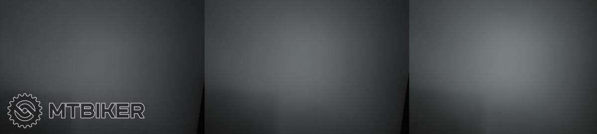 Při promítnutí na zeď se zapnutou funkcí Reactive Lighting je vidět, že nejnižší jas příliš nezávisí na nastaveném režimu. Zleva režimy Low, Mid, High. Parametry fotoaparátu: 1/12 s, ISO 200, WB 5000 K